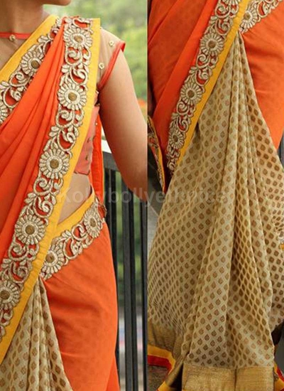 Inspired style Beige and orange color georgette and banarasi jacquard party wear saree