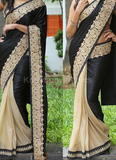 Inspired style Black and cream color silk georgette party wear saree