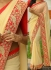 Inspired style Cream and Red color georgette party wear saree