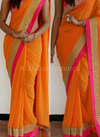 Inspired style orange and pink  color georgette party wear saree