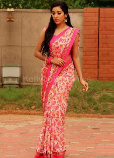 Inspired style Pink color georgette party wear saree
