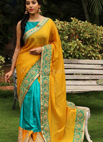 Inspired style Yellow and turquiose georgette party wear saree