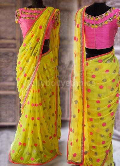 Inspired style Yellow and pink color georgette party wear saree