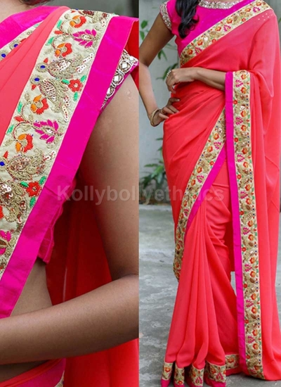 Inspired style Peach and pink color georgette party wear saree