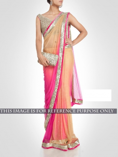 Inspired style beige and pink netted party wear saree