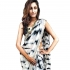 Inspired style Black and white sibori moss silk print saree