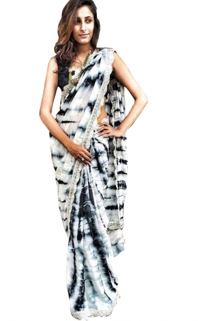 Inspired style Black and white sibori moss silk print saree
