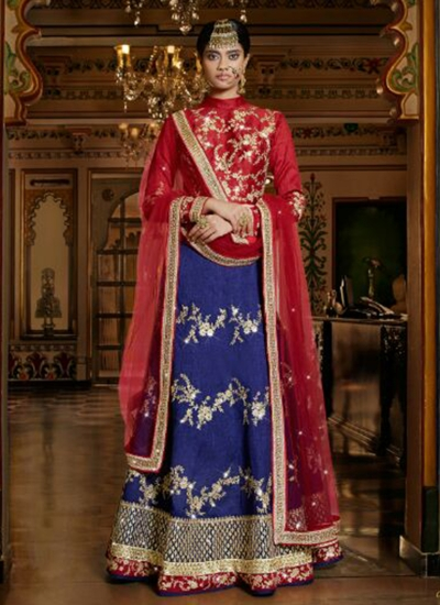 Blue And And Red Silk Wedding Wear Heavy Embroidery Lehenga Choli