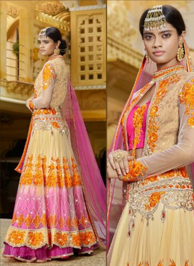 Beige embroidered wedding wear lehenga choli