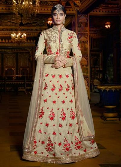 Offwhite color wedding wear lehenga choli