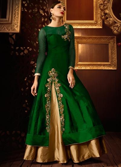Green color taffeta silk party wear lehenga