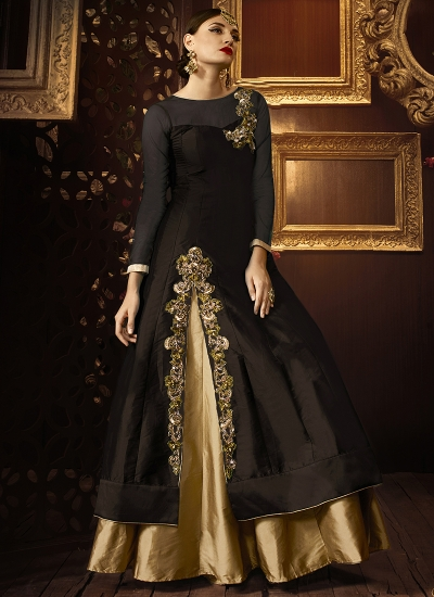 Brown color taffeta silk party wear lehenga