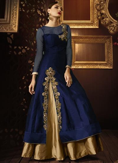 Navy blue color taffeta silk party wear lehenga