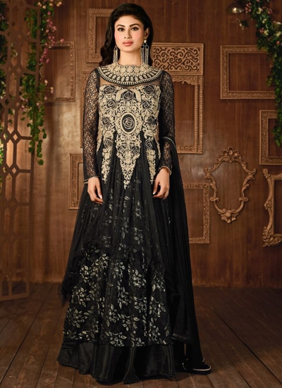 Mouni Roy Black color georgette party wear anarkali suit