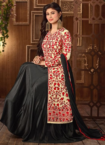 Mouni Roy Cream and Black color georgette party wear anarkali suit