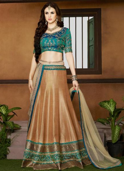 Gold color silk wedding lehenga choli
