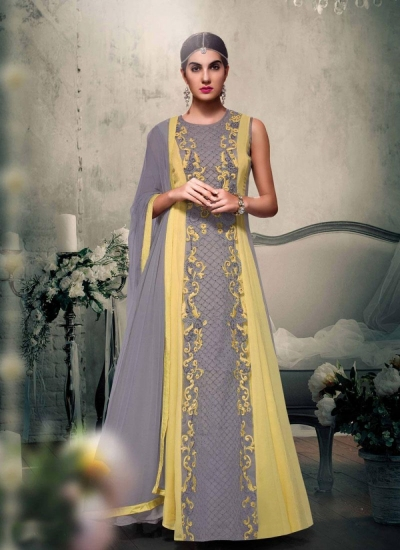 Grey with yellow color georgette wedding wear anarkali suit