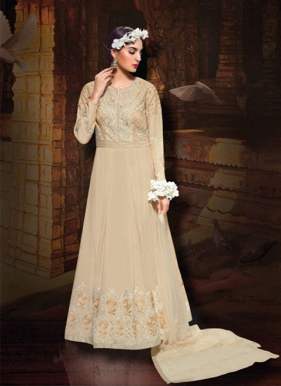 Cream color tafeta silk wedding wear anarkali suit