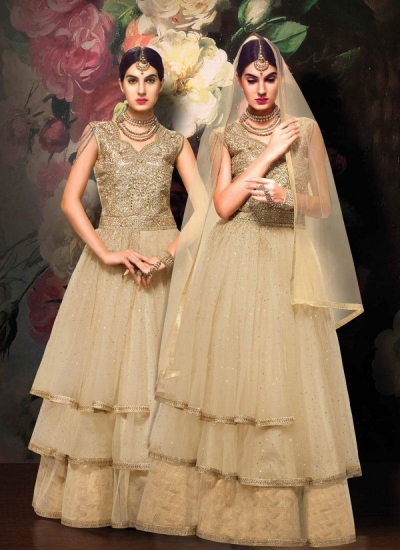 Cream color Net and Jacquard wedding wear anarkali