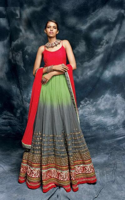 Multi color jacket style net wedding wear anarkali suit