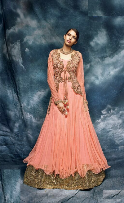 Peach color jacket style embroidered net wedding wear anarkali