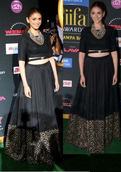 Bollywood Aditi rao black color georgette lehenga choli