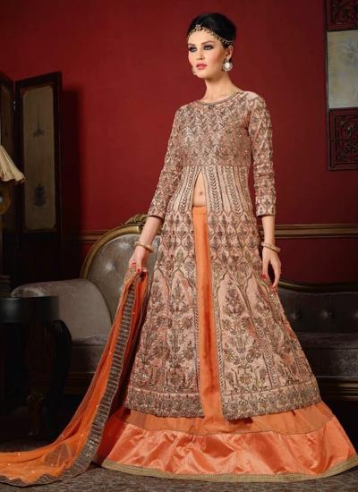 199bc46669 wedding wear peach bhagalpuri silk heavy embroidery work lehenga choli