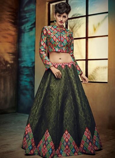 party wear green silk jute printed lehenga choli