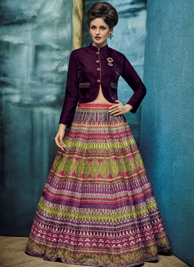 party wear multi colour silk jute printed lehenga choli