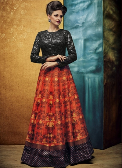 party wear orange silk jute printed lehenga choli