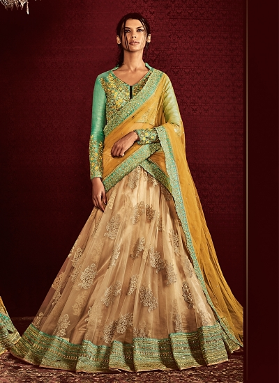 Angelic Cream Net Designer Lehenga Choli