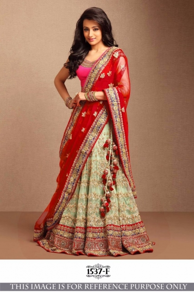 Bollywood Style Trisha Red Color Embroidery Work Lehenga Choli