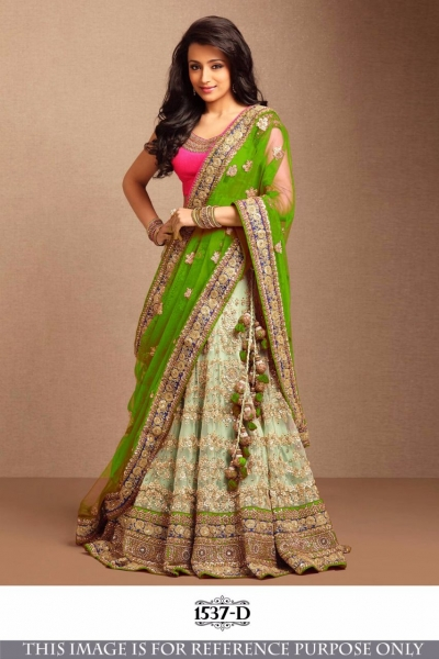 Bollywood Style Trisha Green Color Embroidery Work Lehenga Choli