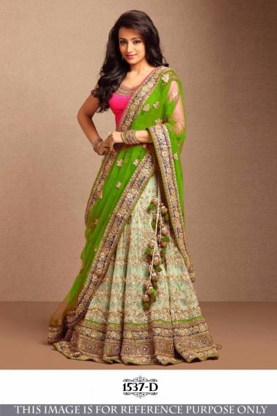 Bollywood Style Trisha Green Color Embroidery Work Lehenga Choli