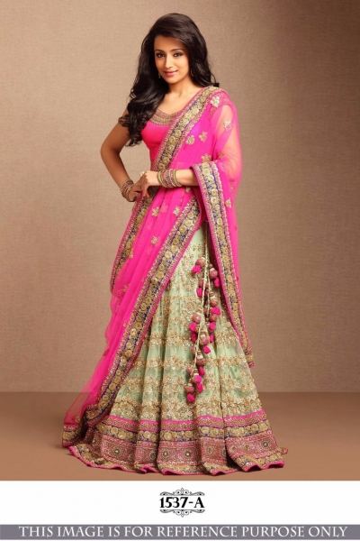 Bollywood Style Trisha Pink Color Embroidery Work Lehenga Choli
