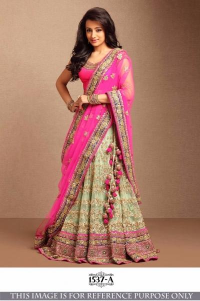 Bollywood Style Trisha Pink Color Embroidery Work Lehenga Choli