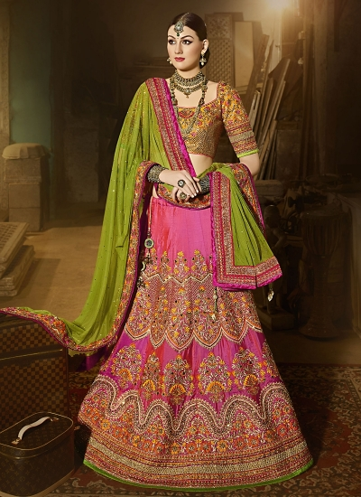 Angelic Hot Pink Satin Silk Lehenga Choli
