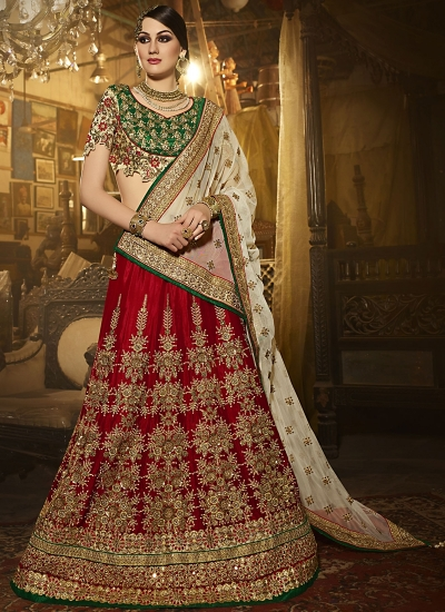 Dilettante Red Satin Silk Lehenga Choli