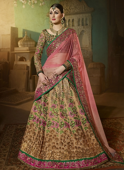 Cute Brown Art Silk Lehenga Choli