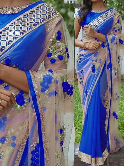 Inspired style Blue and beige color georgette and net party wear saree