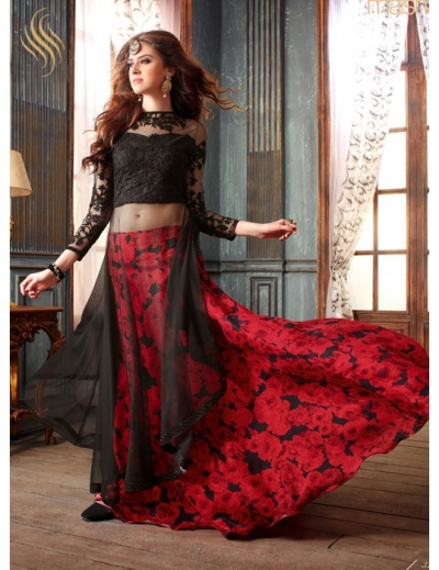 Black and red color net lehenga style anarkali suit
