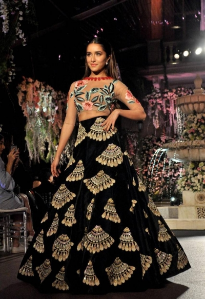 Bollywood style Shraddha Kapoor Black color Bangalori silk lehenga choli