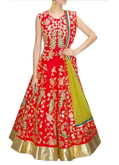 Inspired style red color bangalori silk dori work chaniya choli
