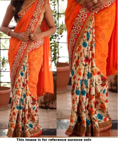 Inspired styleorange color half and half georgette floral saree