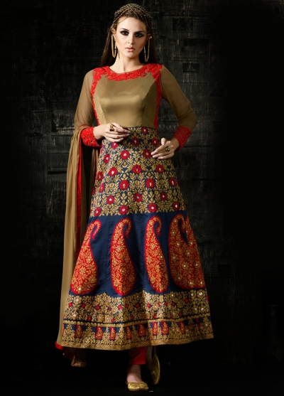 Blue and red handloom jacquard party wear anarkali