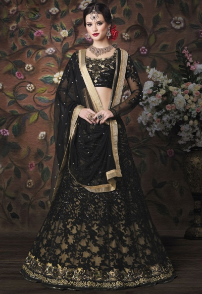Black color net wedding lehenga