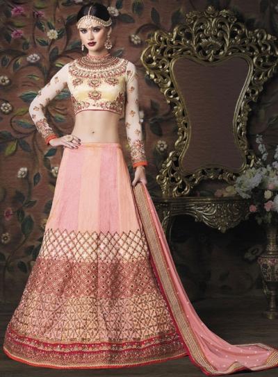 Peach and Pink color malabari silk wedding lehenga