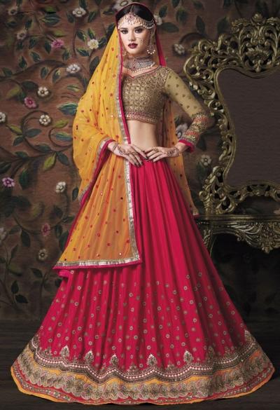 Gajri pink and mustard color softy chiffon and net wedding lehenga