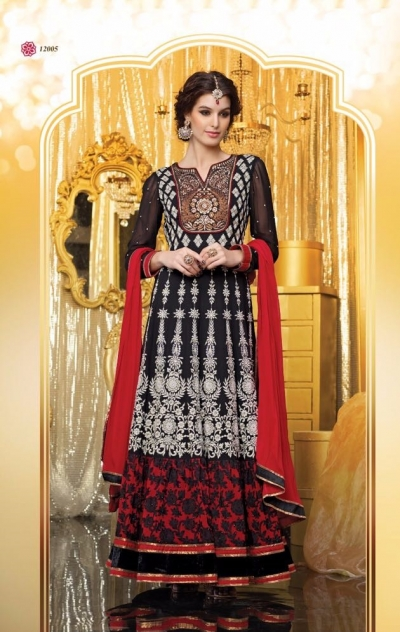 Black embroidered georgette party wear anarkali suit