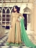 Beige and mint green georgette wedding wear palazzo style suit